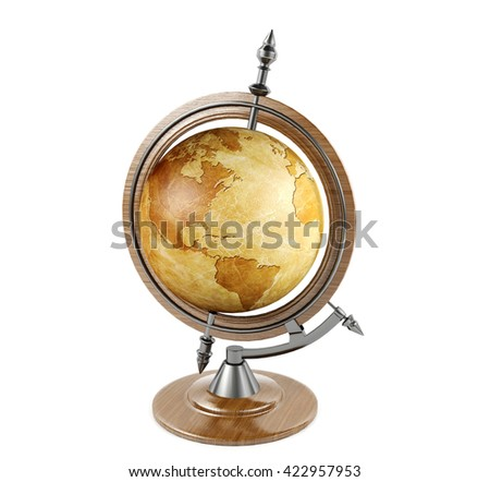 Vintage terrestrial globe isolated on white background, 3D rendering