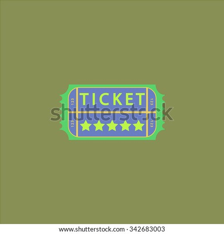 Vintage Ticket. Colorful retro flat icon