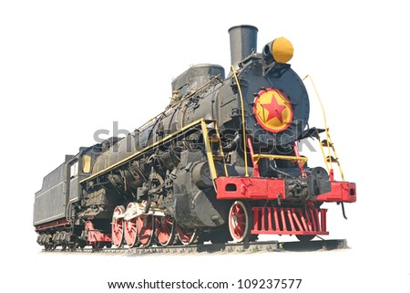 vintage train at an isolated white background