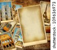 vintage travel background with blank page for text or photo - stock photo