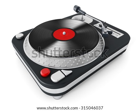 Vintage turntable isolated on white background