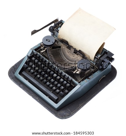 vintage typewriter with paper isolated on white background