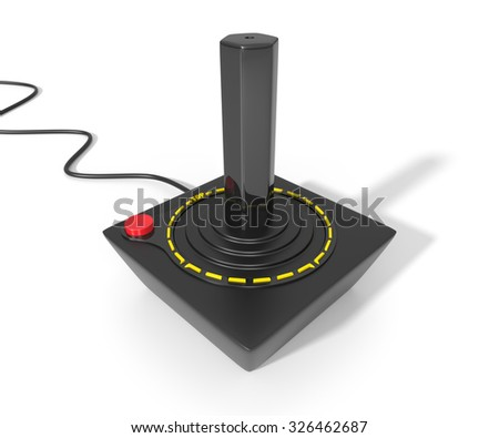 Vintage Video Game Joystick. 3D Rendering. Isolated On White.