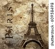 Vintage view of Paris on the grunge background - stock photo
