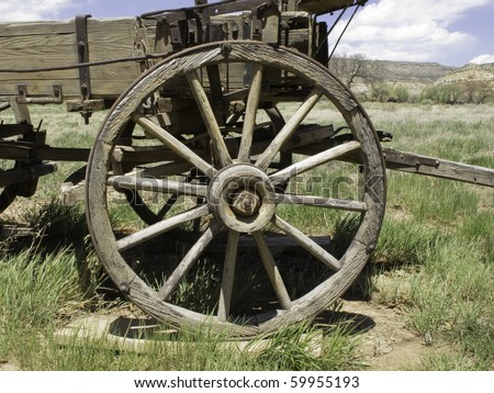 Vintage wagon wheel of the Old West