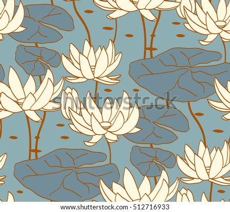 Vintage water lily seamless pattern. Classic chinese motif