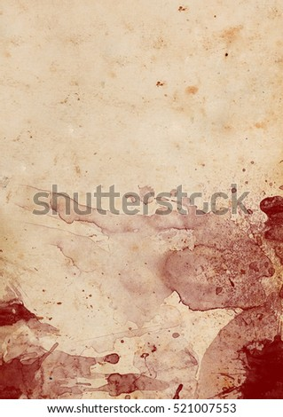 Vintage weathered paper with blood stains