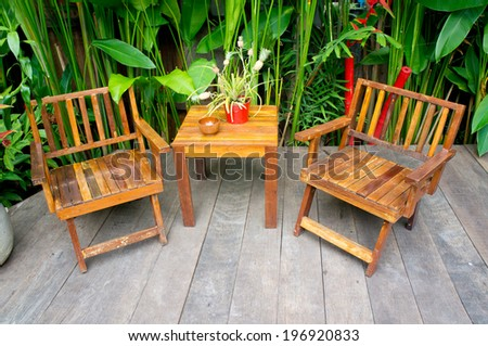 Vintage wood chair in the garden