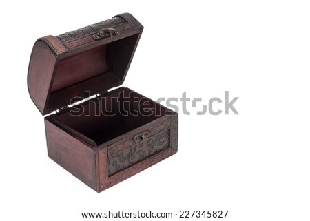 Vintage wood treasure box have lock beside isolated on white background