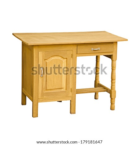 Vintage wooden desk isolated on a white background