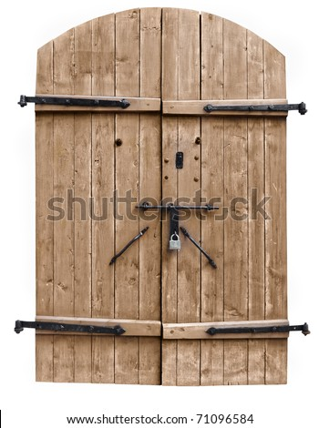 vintage wooden door on the white background