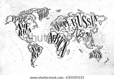 Vintage europe map countries inscription uk vectores en stock vintage worldmap with inscription greenland north america south america africa europe gumiabroncs Images