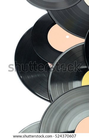 Vinyl discs isolated on white