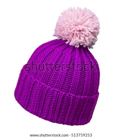 violet and white wool hat isolated