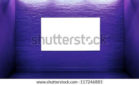 Violet brick wall background with an empty billboard