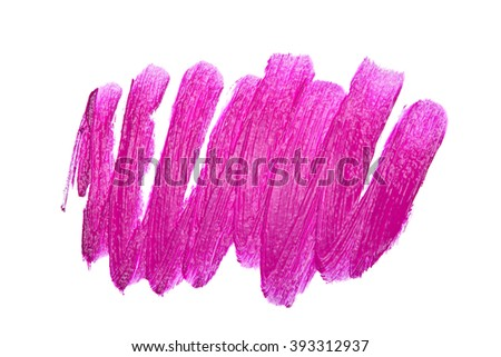 Violet color lipstick stroke on white background