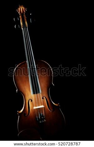 Violin musical instruments of orchestra isolated on black background