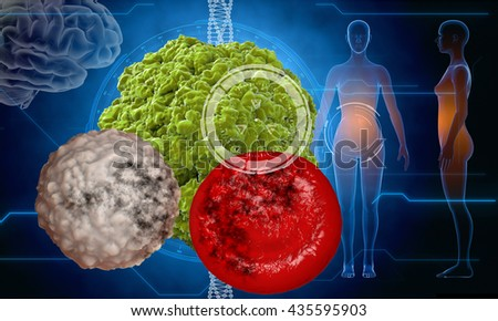 Virus, bacteria, microbe. medical anatomy concept with hud elements. 3d rendering
