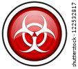 virus red glossy icon isolated on white background - stock photo