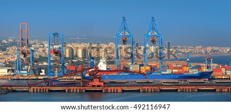 Visakhapatnam, INDIA - December 9 : Visakhapatnam port is a second largest port by cargo handled in India, On December 9,2015 Visakhapatnam, India