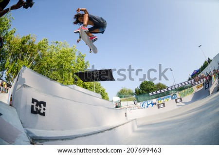 VISEU, PORTUGAL - JULY 27, 2014: Luis Filipe Cruz during the 2nd Stage DC Skate Challenge by Fuel TV.