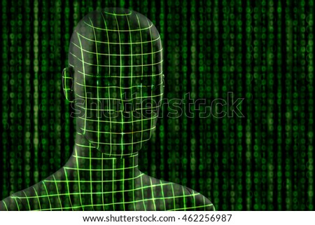 Visualization concept for machine learning.  Grid projection on head and binary numbers on background.