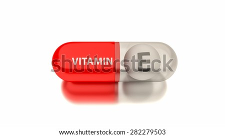 Vitamin E in red capsule. Conceptual image for health concepts.