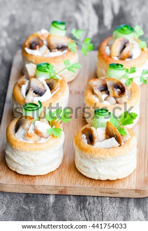 Volauvents puff pastry cases filled mushrooms stock photo for Pastry canape fillings