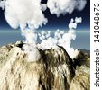 Volcanic eruption - stock photo