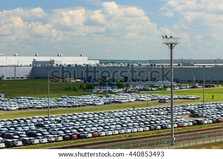 Volkswagen, Russia, Kaluga  - JUNE 16, 2016: New cars parked at distribution center, automobile factory