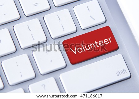 Volunteer word in red keyboard buttons