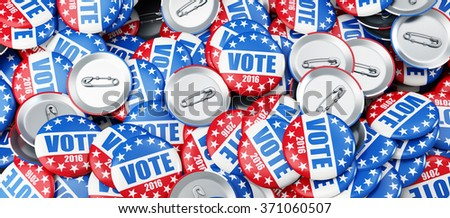 vote election badge button for 2016 background 3d Illustrations