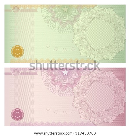 Voucher, Gift certificate, Coupon, ticket template. Guilloche pattern (watermark, spirograph). Blank background for banknote, money design, currency, bank note, check (cheque), ticket