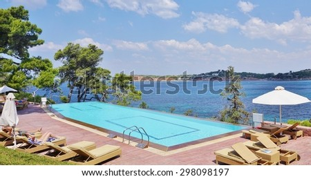 VOULIAGMENI, GREECE -13 JULY 2015- The Astir Palace hotel complex (Westin and Arion), located on the upscale Vouliagmeni peninsula outside of Athens, is up for sale as part of the privatization plan.