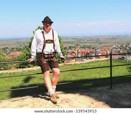 wachtenburg castle germany 562016 german man in traditional lederhosen - Traditional Castle 2016