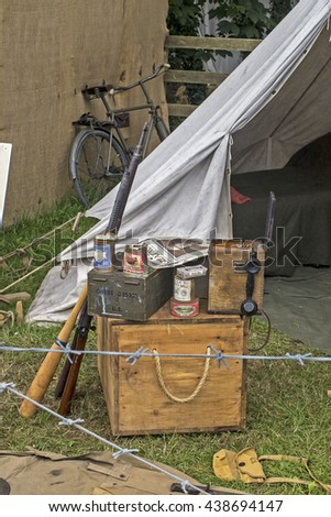 Wadebridge, Cornwall, UK, June 11 2016 - Showing a group army equipment, telephone, guns and various gear