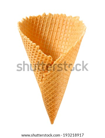Waffle cornet isolated on white