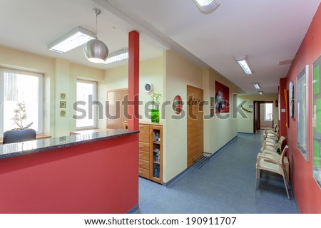 Waiting room with reception in medical clinic