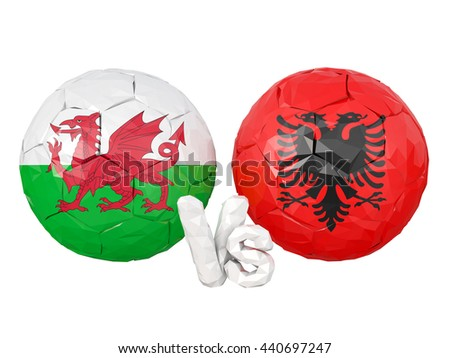 Wales / Albania soccer game 3d illustration