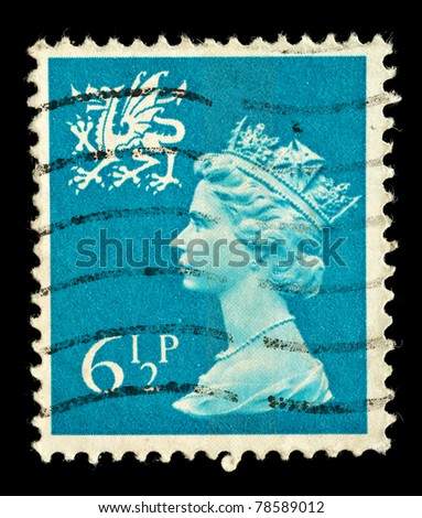 WALES - CIRCA 1971 to 1992: A Welsh Used Postage Stamp showing Portrait of Queen Elizabeth 2nd, circa 1971 to 1992