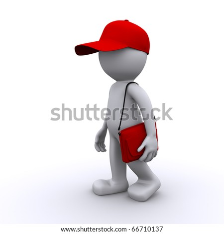 walking 3d character with bag