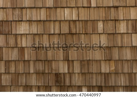 Wall made out of single wooden tiles