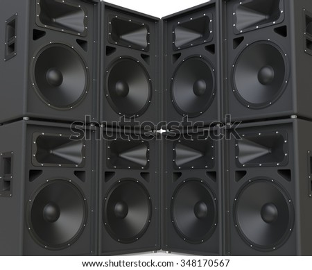 Wall of huge speakers facing each other.