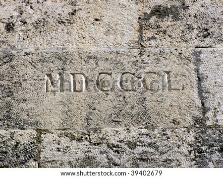 Wall stone with year of building