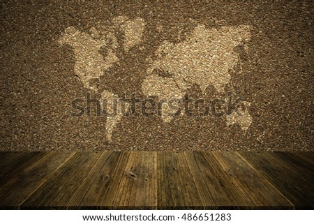 Wall texture surface natural color use for background , process in vintage style with Wood terrace and world map