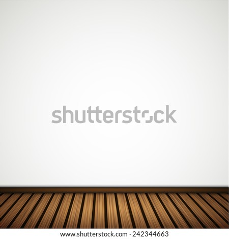 wall with wooden floor.