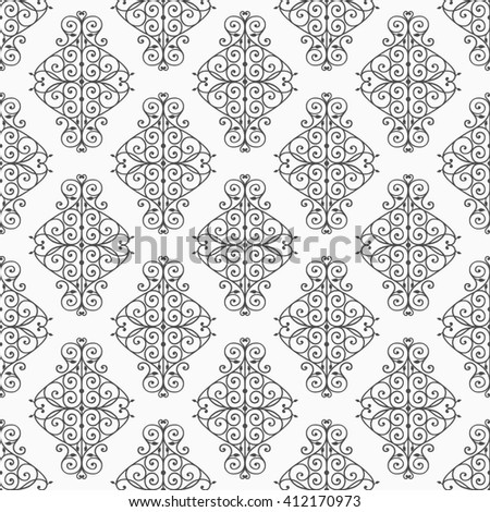 Wallpaper in classic style. Curly seamless damask pattern. Vintage background.