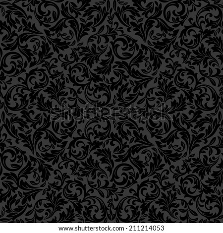 Wallpaper in the style of Baroque. Floral pattern. A seamless black background.