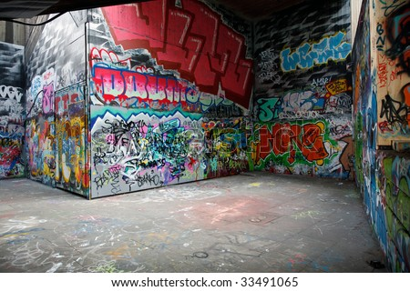 Walls painted with colorful graffiti