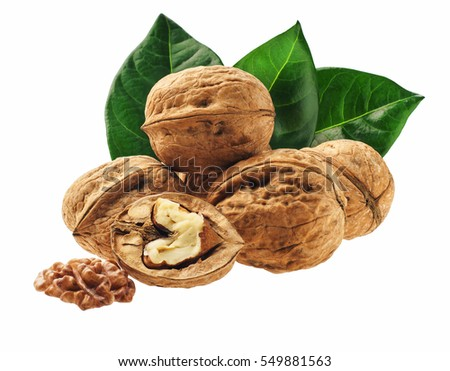 Walnut and walnut kernel  with  green leaf isolated on the white background